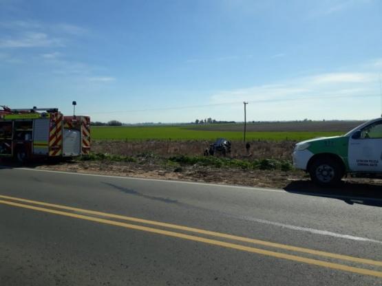 Despiste y vuelco en la Ruta 32: una mujer herida