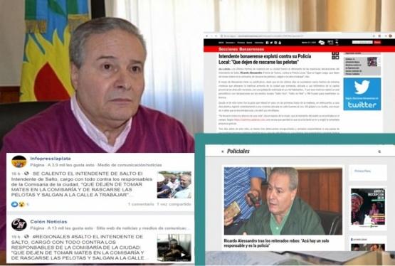 Aleesandro contra la Policía: así reflejaron los medios provinciales las duras declaraciones del Intendente