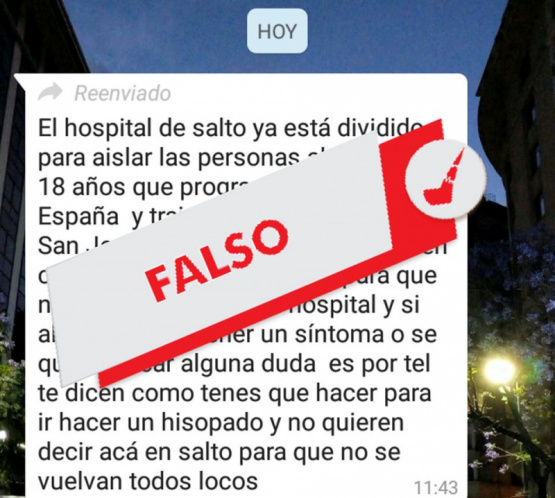 Coronavirus: es falsa la cadena de una persona infectada en Salto