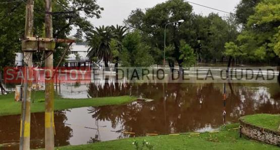 Desbordó el Río Salto y hay una familia evacuada