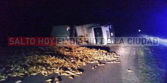 Volcó un camión que transportaba maíz en la ruta 191
