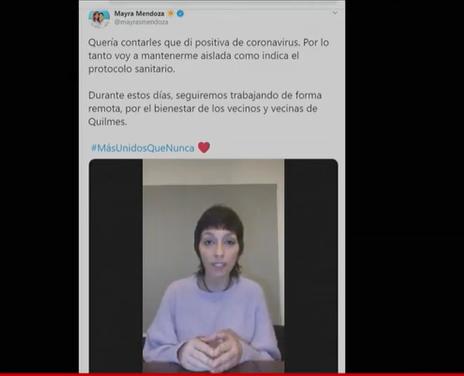 Mayra Mendoza, intendenta de Quilmes, dio positivo de coronavirus